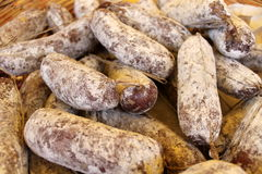 Italian salami for our table. Delicious Italian salami for our table royalty free stock images