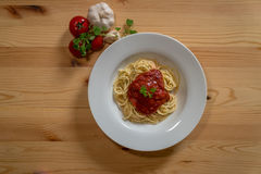 Delicious Italian spaghetti with tomato sauce Royalty Free Stock Photography