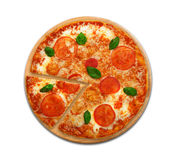 Delicious italian vegetarian pizza Margherita top view isolated Royalty Free Stock Photo