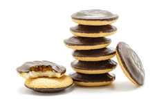 Delicious Jaffa Cakes. Cookies covered with dark chocolate Royalty Free Stock Photography