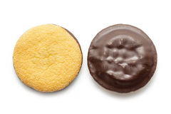 Delicious Jaffa Cakes. Cookies covered with dark chocolate Royalty Free Stock Photo