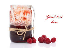 Delicious jam. Made from fresh berries (easy removable text Royalty Free Stock Images