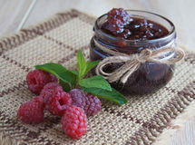 Delicious jam made from fresh natural raspberry in the jar Royalty Free Stock Images