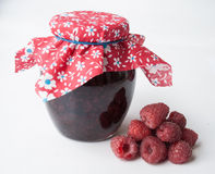 Delicious jam made from fresh natural raspberry in the jar Royalty Free Stock Photography