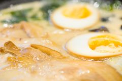 Delicious japan food style menu.traditional japanese local Ramen noodle on black dish.japanese chef cooking Ramen noodles at. Japanese restaurant.tasty japanese stock photography
