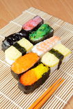 Delicious japan sushi mix with chopsticks Stock Photography
