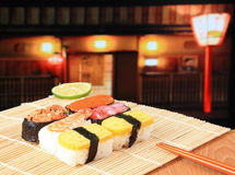 Delicious japan sushi mix with chopsticks Stock Image