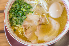 Delicious Japanese chashu ramen with boiled egg and vegetable Royalty Free Stock Photography