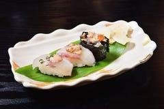 Angler fish sushi. Delicious Japanese food - Angler fish sushi Royalty Free Stock Photos