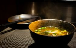 Delicious japanese food, delicious miso soup. Delicious japanese food, professional chef cooking delicious miso soup japanese food in restaurant stock photography