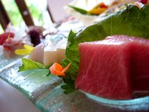 Delicious Japanese Sashimi. The art of raw fish, Sashimi at its best royalty free stock photo
