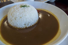 Delicious Japanese style curry server with rice Stock Photography