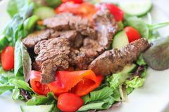 Delicious juicy barbequed steak. Grilled meat beef lamb garnished with tomatoes ,tomatoes and vegetables royalty free stock image