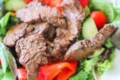 Delicious juicy barbequed steak. Grilled meat beef lamb garnished with tomatoes ,tomatoes and vegetables royalty free stock photography