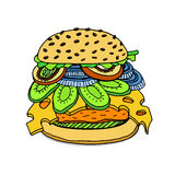 Delicious juicy burger. Royalty Free Stock Images