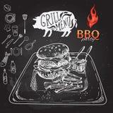 Delicious juicy burger. Sketch illustration Royalty Free Stock Image
