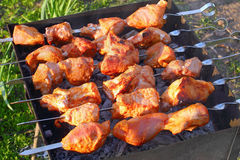 Delicious juicy chargrilled shashlik, top view Stock Photo