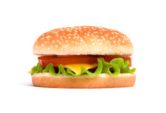 Delicious juicy cheeseburger Stock Images