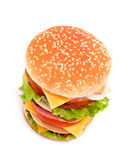 Delicious juicy cheeseburger. With tomato on white background Stock Photo