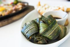 Chicken wrapped in pandan leaf Royalty Free Stock Photos