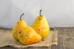 Yellow pear on a rustic background. Delicious, juicy, ripe, yellow pear on a rustic background on a wooden table and a white background Stock Images