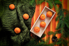 Delicious juicy tangerine on green sweater at wooden orange background. royalty free stock image