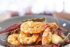Delicious jumbo prawns with red peppers and butter garlic sauce royalty free stock images