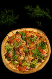 Delicious Kebab Beef Pizza...yammmmy. Delicious Kebab Beef Pizza decorated with dill Stock Photo