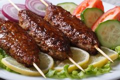 Delicious kebabs with lemon and vegetables Royalty Free Stock Image