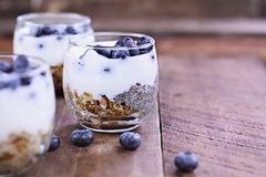 Delicious Kefir Yogurt and Chia Parfait. Kefir yogurt and chia parfaits. Kefir is one of the top health foods available providing powerful probiotics. Extreme Royalty Free Stock Images