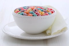 Delicious kids cereal loops Royalty Free Stock Photo