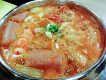 Delicious Korean food Yukgaejang spicy seafood soup, Korean cuisine concept royalty free stock photo