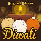 Delicious Laddu Desserts and Diyah for Diwali Celebration, Vector Illustration Royalty Free Stock Photos