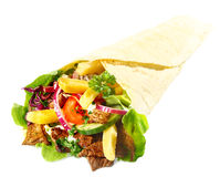 Delicious Lahmacun with meat, chips and salad Stock Images