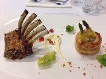Delicious lamb rib and prown Royalty Free Stock Image