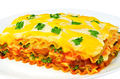 Delicious lasagna slice on a plate. Isolated on white background Stock Images