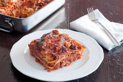Delicious lasagne with meat ragu and bechamel Stock Images