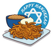 Delicious Latkes with Sour Cream and Apple Sauce, Vector Illustration Royalty Free Stock Photography