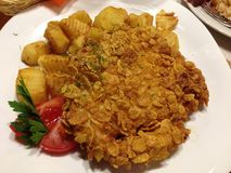 Food, latvian, potatoes,meat stock photo