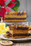 Delicious layer gingerbread cake decorated with dried fruits Royalty Free Stock Image