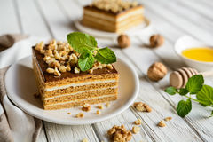 Delicious layered honey cake with chocolate and walnut topping stock images