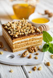 Delicious layered honey cake with chocolate and walnut topping royalty free stock images