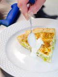 Delicious leek and cheese tart Stock Images