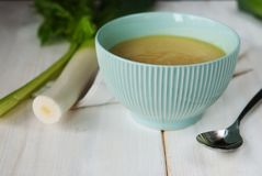 Leek cream soup. Delicious leek cream soup in bowl royalty free stock images