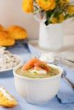 Delicious leek cream soup Stock Photography
