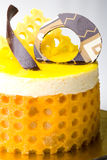 Delicious lemon fruit mousse cake pastry. Closeup Stock Image