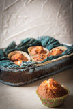 Delicious lemon muffins with tea and coffee. Romantic mood royalty free stock photos