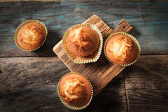 Delicious lemon muffins with tea and coffee. Romantic mood stock photo
