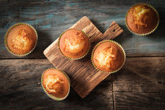 Delicious lemon muffins with tea and coffee. Romantic mood stock photos