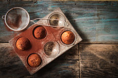 Delicious lemon muffins with tea and coffee romantic. Mood stock photo
